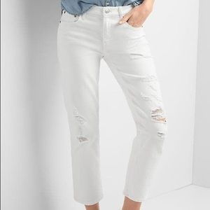 GAP destructed slim crop jeans